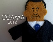 President Barack Obama Felt Finger Puppet with Black Hair
