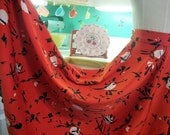 Circle Skirt in Red and Black Stylized Flowers XS Small Petite