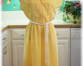 Vintage Lemon Icebox Pie Summer Seventies Dress Large