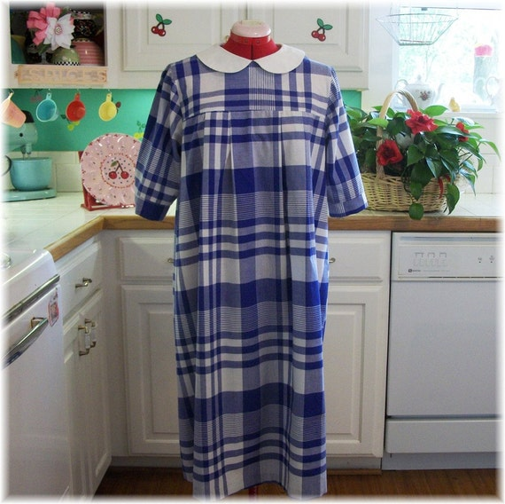 Vintage Maternity 1970s Dress Blue and White Large XL