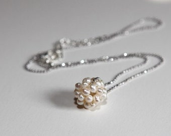 Pear Ball Necklace-whitegold chain