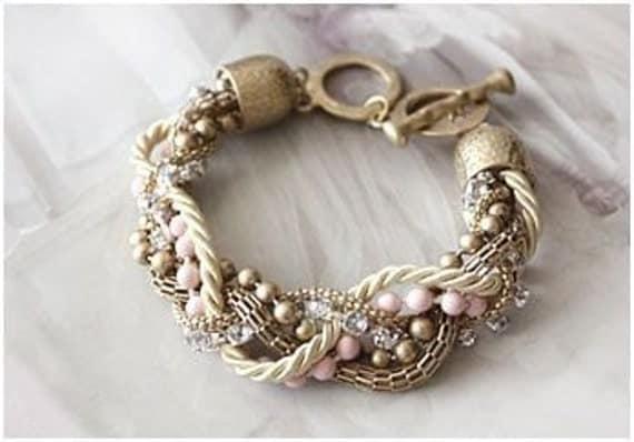 Gold Pink Twist Bracelet