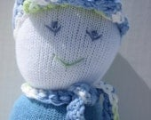 Sock buddy with crochet hat and scarf
