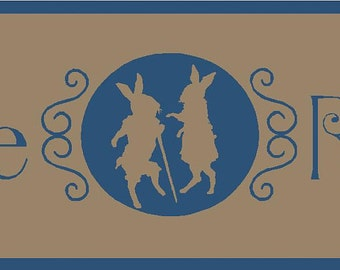 Vintage Rabbits Stencil 7 mil Transparent Blue Mylar Reusable
