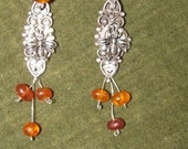 Reanimated silver and amber bee earrings