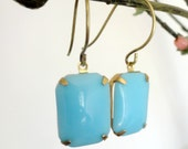 Bower Bird collection - Blue rectangle glass vintage earrings