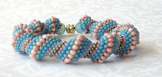 blue beadwork braclet