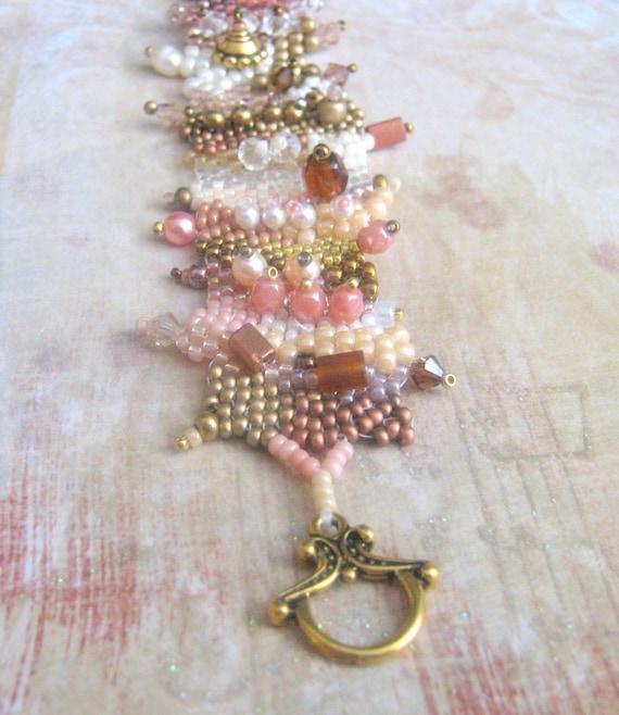 freeform beadwork bracelet