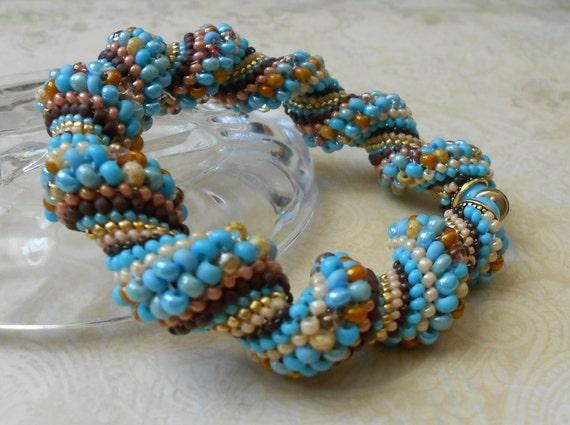 blue beadwoven bangle