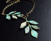 Leaves of Green- Organic verdigris leaf necklace, ALSO IN SILVER,simple leaf necklace, branch jewelry