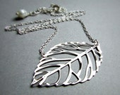 Floating Leaves- Silver leaf necklace. BRASS, GOLD OR Silver, leaf silhouette, bridal jewelry, simple necklace