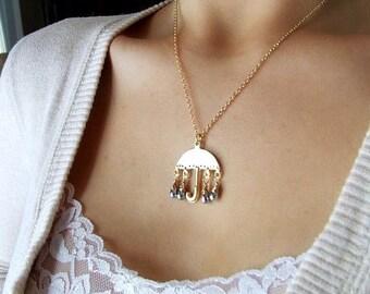 Raindrops- Gold Umbrella Rain charm necklace,  simple gold necklace, mixed metals, raindrop necklace, rainy day charm