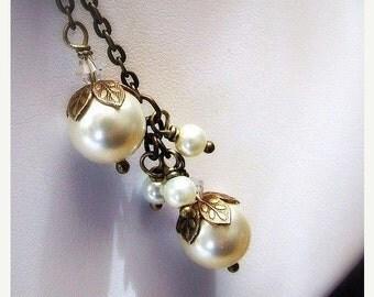 Antiqued brass swarovski pearl lariat necklace, swarovski pearls, charm cluster, wedding jewelry, bridal necklace