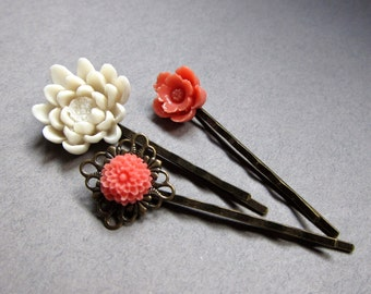 Flower bobby pin trio in coral, & creamy ivory, large water lily  flower, brass bobby pins, bridal gift, wedding hair pins
