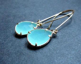Mint spring green gold framed pear jewel earrings, bridal jewelry, wedding earrings, 16k gold plated earwires