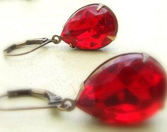 Vintage glass jewel earrings in antiqued brass, bright red, teardrop, pear shaped, blood orange