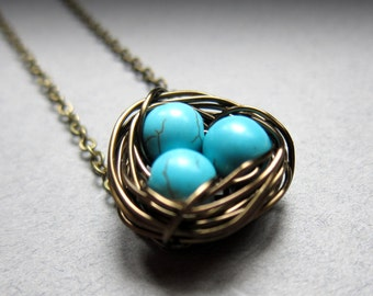 Nesting- Robins egg blue Birds nest Necklace, mother's gift, womens jewelry, wire wrapped pearls, symbolic, children, mom, teal