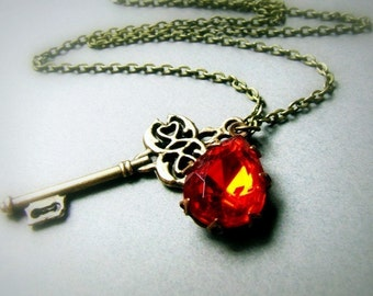 Vintage Scarlet Red glass jewel and skeleton key necklace, bright red necklace, teardrop jewel, old glam, large key charm