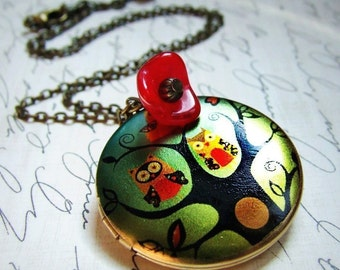 Treetop Owls- Vintage owl photo locket necklace, long necklace, owls on a branch