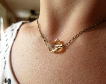 Golden topaz swarovski crystal twist necklace, gold chain, bridal jewelry, round jewel, faceted gem, simple, modern necklace