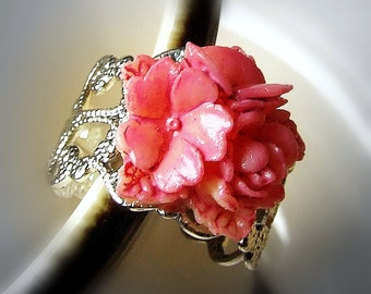 Summer Soiree - Tie-dyed Pink Flower Bouquet silver adjustable filigree ring