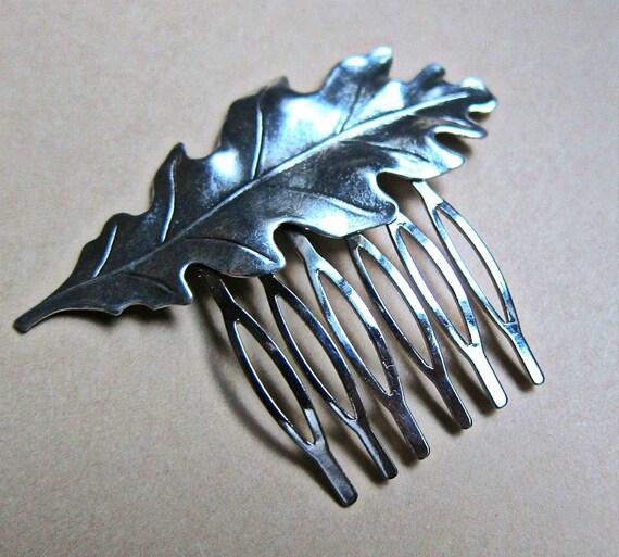 Silver Oak Leaf hair comb, hair accessory, silver comb