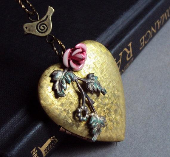 Long Antiqued brass large heart locket necklace, floral necklace, pink rose, basketweave locket, vintage large locket