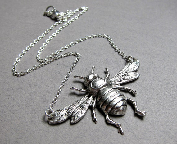 Queen Bee- Antiqued  silver simple bee necklace, bumblebee, large pendant, statement  necklace, flying wasp, detailed wings