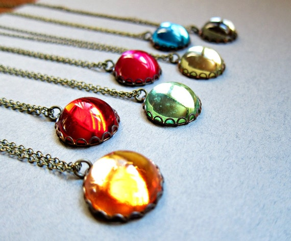 Vintage Colorful round cab necklace, CHOOSE YOUR COLOR, unique jewelry, mirror like, simple modern necklace