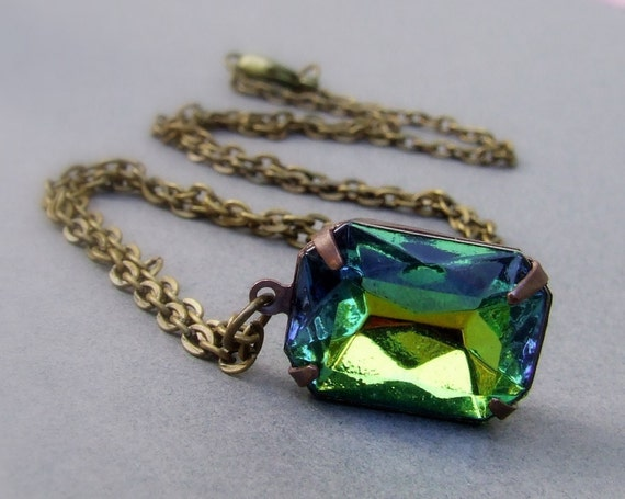 Vintage octagon Vitrail  green and blue glass jewel necklace, simple necklace, rectangle jewel, rare vintage jewel