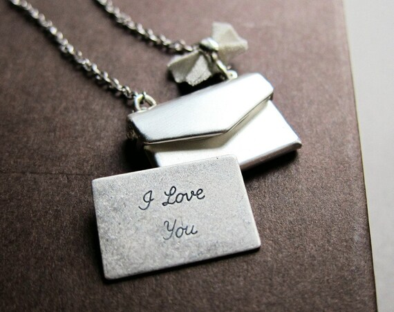 Shiny silver envelope locket necklace, I love you note, dainty bow, romantic necklace