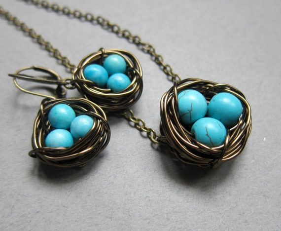 Antiqued Brass Robin Birds Nest necklace and Earrings Set -Birds Nest Set- mother's gift, womens jewelry, wire wrapped pearls