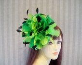 Kentucky Derby Hat Feather fascinator Bridal Hat Victorian Hat Photo Shoot Feather Hat Greens feathers black coque feathers