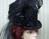 Black Top Hat Steampunk Top Hat Halloween Top Hat  Victorian Top Hat Dickens Festival Top Hat Wedding Hat