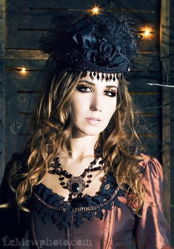Mini Riding Hat- Victorian LadiesMini Top Hat-Civil War-Derby-Lolita-Neo Victorian-Halloween-Steampunk-Black-Hat
