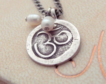 """Thai Silver Aum Necklace with Dainty Freshwater Pearl Drops - 18"""" Oxidized Sterling Silver Chain - Zen - Spiritual Jewelry - Yoga Necklace"""