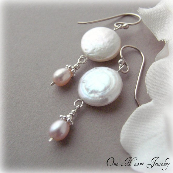 ANNIVERSARY SALE - Petal Pink Pearl Drop Earrings - 30 Percent Off