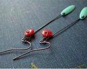 Red and Vintage Green Linear Earrings in Gunmetal