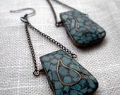 Worldly Earrings - Vintage Turquoise Color Stone Brass Pendant with Brass Chain