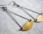 Raw Brass Suspended Half Moon Swing Earrings