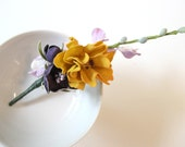 YELLOW Flower . Plum blooms . Lavender Buds . BOUTONNIERE