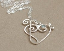 music heart with BIRTHSTONE. treble clef and bass clef. music jewelry. sterling silver music heart pendant. April diamond.