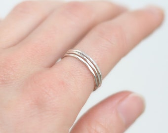 stacking ring. knuckle ring. sterling silver. super skinny. above knuckle ring. stackable ring. hammered and shiny. ONE stack ring.