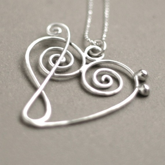 music heart NECKLACE. treble clef meets bass clef. music jewelry in sterling silver. Gift for Her.