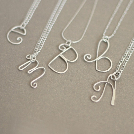 initial necklace. personalized initial in sterling silver. bridesmaid or friend gift. mothers initial necklace.gift for her.