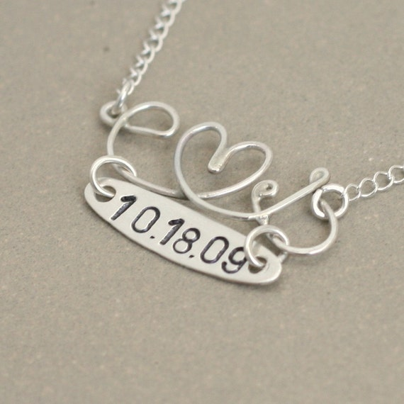 RESERVED for jamiecole988.  love letter with custom date charm. sterling silver wire NECKLACE. choose your initials. tiny heart.