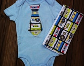Cassette Tie Onesie and Burp Cloth