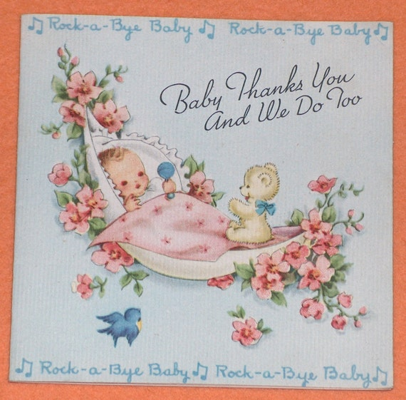 Vintage Baby Shower Thank You Cards: Vintage Gibson 1950s Baby Shower Thanks You Thank By