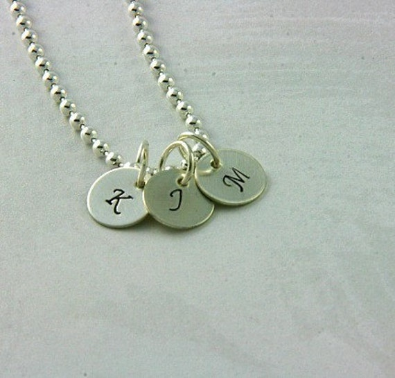 Teeny Tiny Tags - 3\/8 Inch Sterling Hand Stamped Mom's Initial Necklace
