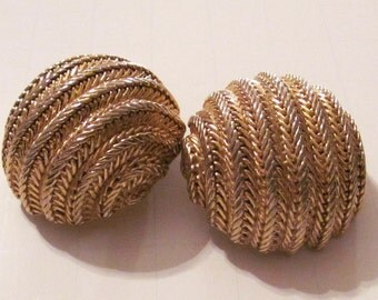 Vintage 1980's Gold Tone Clip- On Earrings